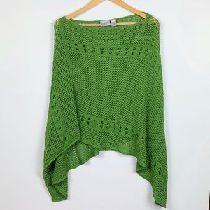 CHICO'S green crochet knit poncho size OS
